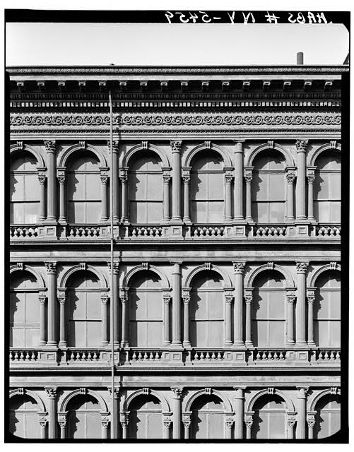 3.  Historic American Buildings Survey, Cervin Robinson, Photographer March 1967, DETAIL OF BROOME STREET FACADE. - E. V. Haughwout & Company Building, 488-492 Broadway, New York, New York County, NY