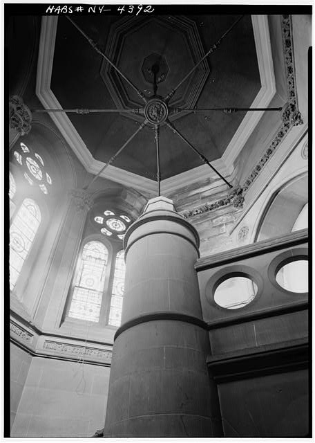 6.  Historic American Buildings Survey, Cervin Robinson, Photographer 1960, CEILING DETAIL, STAIRCASE IN CLOCK TOWER. - Third Judicial District Courthouse, 425 Avenue of the Americas, New York, New York County, NY