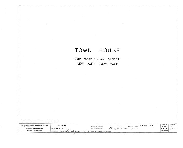 HABS NY,31-NEYO,61- (sheet 0 of 3) - 739 Washington Street (Town House), New York, New York County, NY