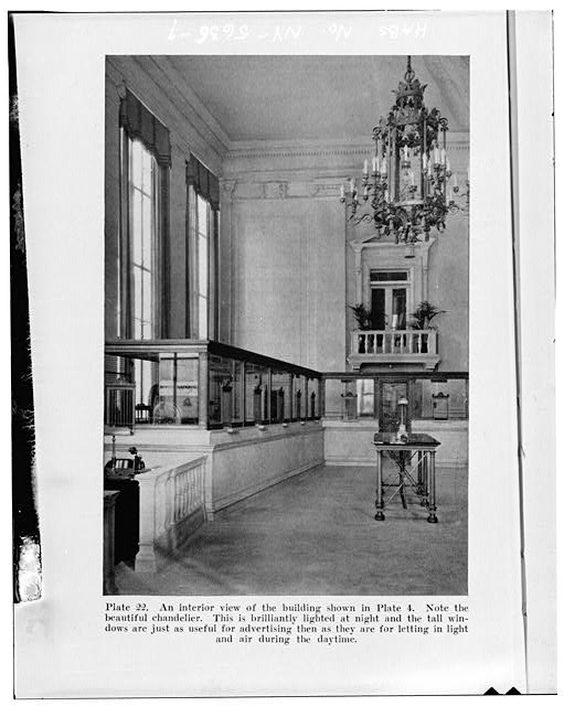 9.  Photocopy of published photograph (from Hopkins, Alfred, The Fundamentals of Good Banking, New York: The Bankers Publishing Co., 1929, plate 22) Photographer unknown INTERIOR, LOOKING NORTH, SHOWING ORIGINAL TELLER WINDOWS AND FURNISHINGS - City National Bank, 49 Court Street, Binghamton, Broome County, NY