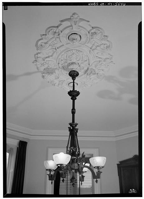 7.  Historic American Buildings Survey, 1966, INTERIOR (DETAIL) OF LIGHT FIXTURE AND ROSETTE, SOUTHEAST ROOM, FIRST FLOOR. - J. Stuart Wells House, 71 Main Street, Binghamton, Broome County, NY