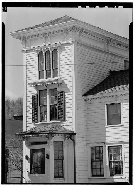 4.  Historic American Buildings Survey, 1963, TOWER, FROM SOUTHEAST TOWER LOCATED AT SOUTHWEST CORNER OF BUILDING. - Sheldon Hyde House, 97 Second Street, Deposit, Broome County, NY