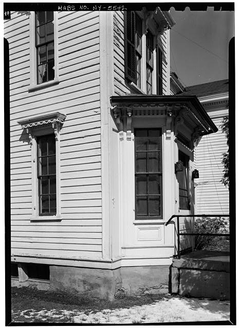 5.  Historic American Buildings Survey, 1963, WINDOW ON WEST SIDE, FIRST FLOOR (EXTERIOR VIEW) AND OBLIQUE VIEW OF BAY ON SOUTH FRONT. - Sheldon Hyde House, 97 Second Street, Deposit, Broome County, NY
