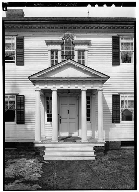 5.  Historic American Buildings Survey, 1963, DETAIL, ENTRANCE PORTICO AND PALLADIAN WINDOW. - Amos Patterson House, 3725 River Road, Endwell, Broome County, NY