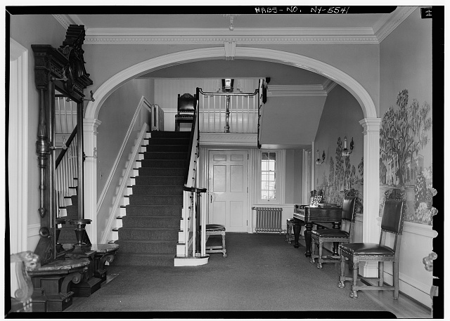 7.  Historic American Buildings Survey, 1963, INTERIOR, FIRST FLOOR, HALL AND STAIRCASE. - Amos Patterson House, 3725 River Road, Endwell, Broome County, NY