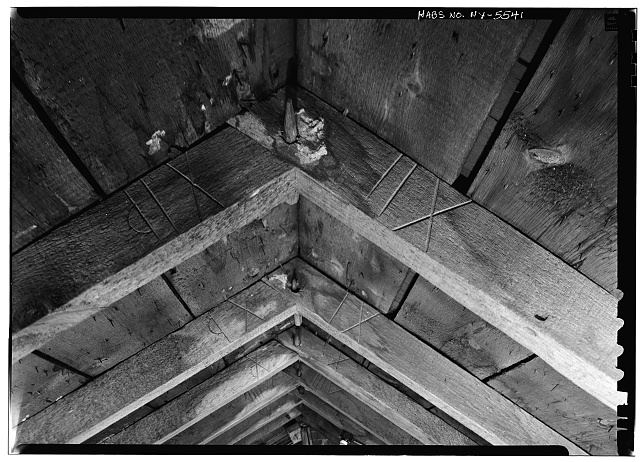 13.  Historic American Buildings Survey, 1963, INTERIOR, DETAIL OF ROOF RAFTERS WITH CARPENTERS MARKS, NO RIDGE POLE. - Amos Patterson House, 3725 River Road, Endwell, Broome County, NY