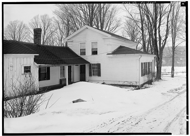 3.  Historic American Buildings Survey, 1963, SOUTH AND WEST (REAR) ELEVATIONS. - Cyrus Gates House, Old Nanticoke Road, Maine, Broome County, NY