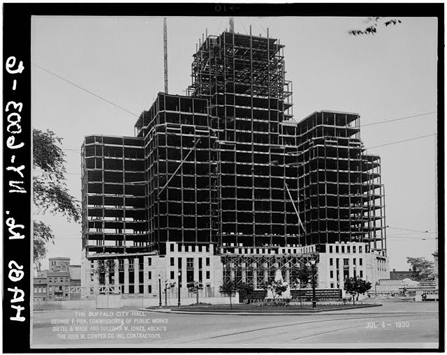 6.  City Hall under construction during placement of facing material, looking west,July 4,1930 - Buffalo City Hall, 65 Niagara Square, Buffalo, Erie County, NY