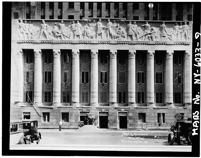 9.  West elevation,central bays,showing frieze - Buffalo City Hall, 65 Niagara Square, Buffalo, Erie County, NY