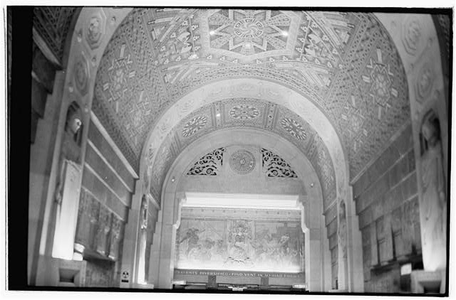 21.  Interior,first floor,Guastavino tile vaulting over main corridor and mural at west end of main corridor - Buffalo City Hall, 65 Niagara Square, Buffalo, Erie County, NY