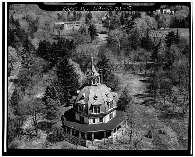 5.  AERIAL VIEW, SOUTH ELEVATION - Armour-Stiner House, 45 West Clinton Avenue, Irvington, Westchester County, NY