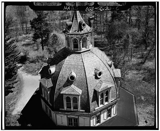 6.  AERIAL VIEW, CLOSEUP OF DOME - Armour-Stiner House, 45 West Clinton Avenue, Irvington, Westchester County, NY