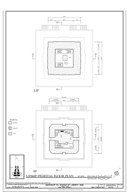 5.5P & 6P-Pedestal Floor Plan - Statue of Liberty, Liberty Island, Manhattan, New York, New York County, NY