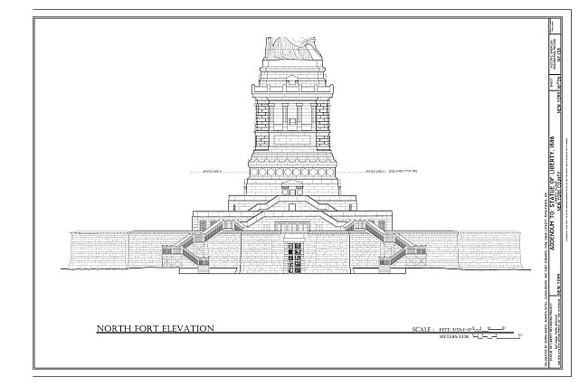 North Fort Elevation - Statue of Liberty, Liberty Island, Manhattan, New York, New York County, NY