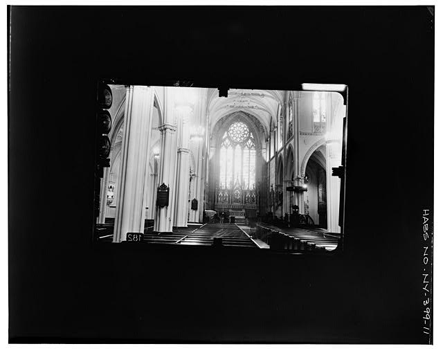 11.  ALTAR END SEEN FROM WEST ENTRANCE Copy photograph of photogrammetric plate LC-HABS-GS07-T-1343-100L. - Grace Church, Broadway, Tenth Street & Fourth Avenue, New York, New York County, NY