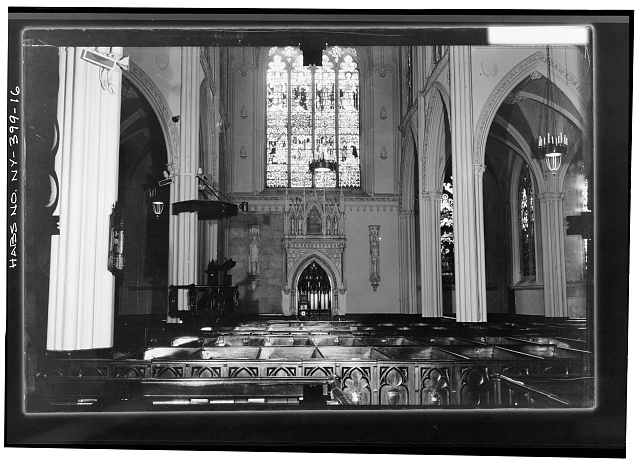 16.  SOUTH TRANSEPT WALL Copy photograph of photogrammetric plate LC-HABS-GS07-T-1343-105L. - Grace Church, Broadway, Tenth Street & Fourth Avenue, New York, New York County, NY