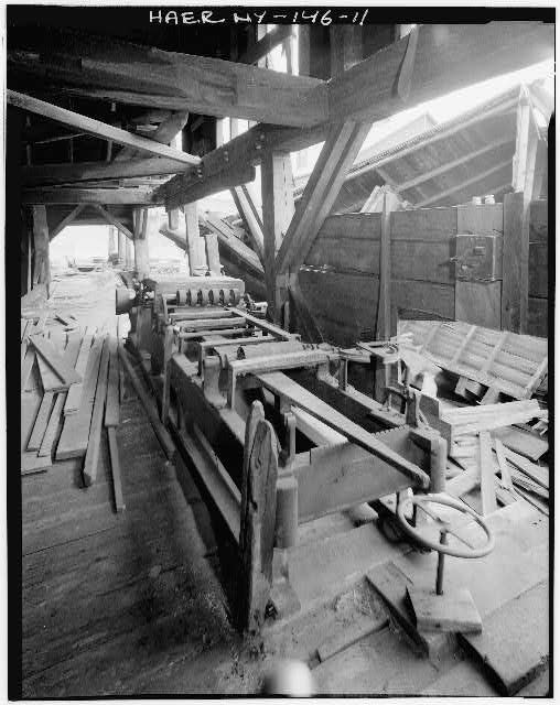 11.  VIEW LOOKING SOUTH, TOWARD COLLAPSED LATH AND SHINGLE SHOP. DOUBLE EDGER IN FOREGROUND BY LANE MANUFACTURING CO. - Emerson Sawmill, Scroon River, River Street, Warrensburg, Warren County, NY
