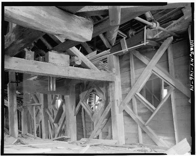 14.  DETAIL VIEW, INTERIOR OF SOUTH MALL - Emerson Sawmill, Scroon River, River Street, Warrensburg, Warren County, NY