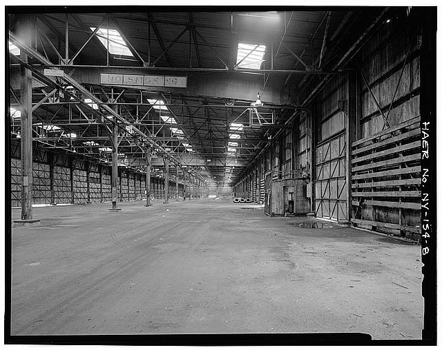 8.  VIEW OF OUTSHORE TWO-THIRDS OF PIERSHED INTERIOR, LOOKING SOUTH - New York Barge Canal, Gowanus Bay Terminal Pier, East of bulkhead supporting Columbia Street, Brooklyn, Kings County, NY