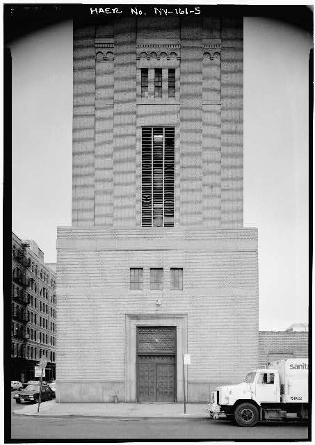 5.  NEW YORK LAND VENTILATION BUILDING NORTH SIDE, LOWER STORES - Holland Tunnel, Beneath Hudson River between New York & Jersey City, New York, New York County, NY