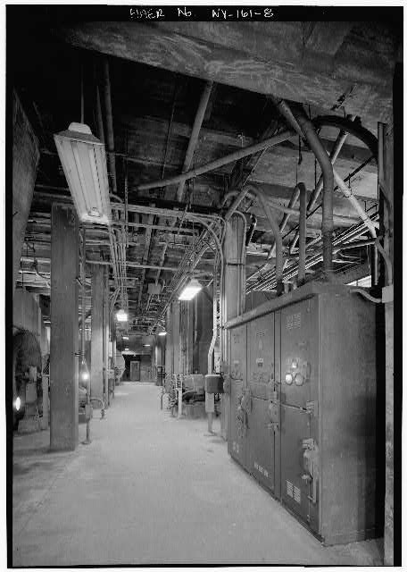 8.  NEW YORK LAND VENTILATION BUILDING, FOURTH FLOOR, DETAIL SHOWING BLOWERS AND MAIN FEEDER STATION - Holland Tunnel, Beneath Hudson River between New York & Jersey City, New York, New York County, NY