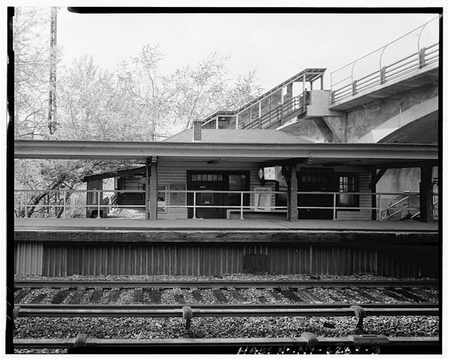 3.  VIEW WEST, OF TICKETING BUILDING - Fleetwood Railroad Station, Broad Street at MacQuesten Parkway, Fleetwood, Westchester County, NY