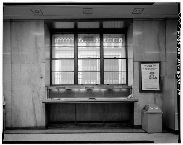 14.  GROUND STORY, POST OFFICE LOBBY DETAIL OF DESK ALONG EAST WALL IN LEXINGTON AVENUE ARM - Grand Central Post Office Annex, Forty-fifth Street & Lexington Avenue, Southwest corner, New York, New York County, NY