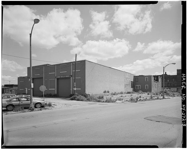 3.  West and south elevations, view northeast - Oldman Boiler Works, 32 Illinois Street, Buffalo, Erie County, NY