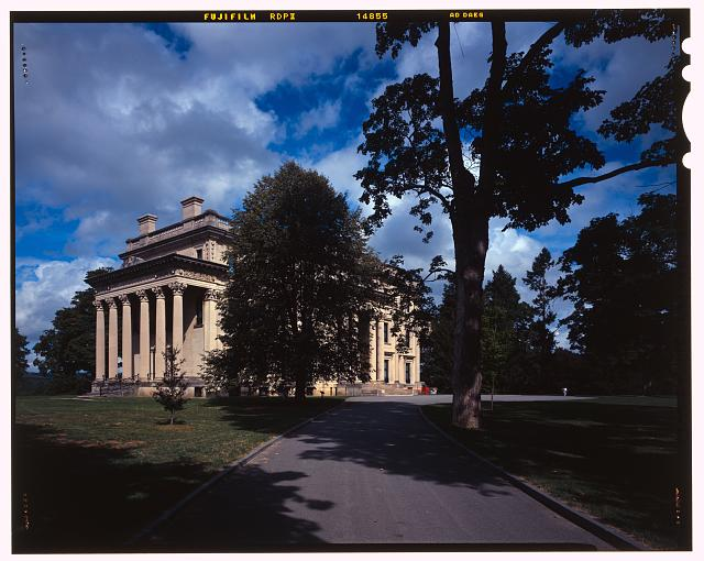 28.  Vanderbilt Mansion with driveway to front of house, view NW. - Vanderbilt Mansion Roads & Bridges, Hyde Park, Dutchess County, NY