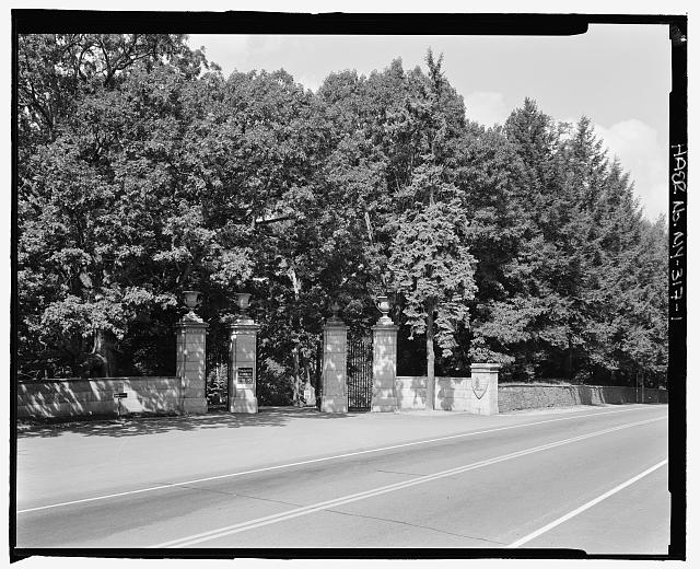 1.  Main entrance gate, view NW - Vanderbilt Mansion Roads & Bridges, Hyde Park, Dutchess County, NY