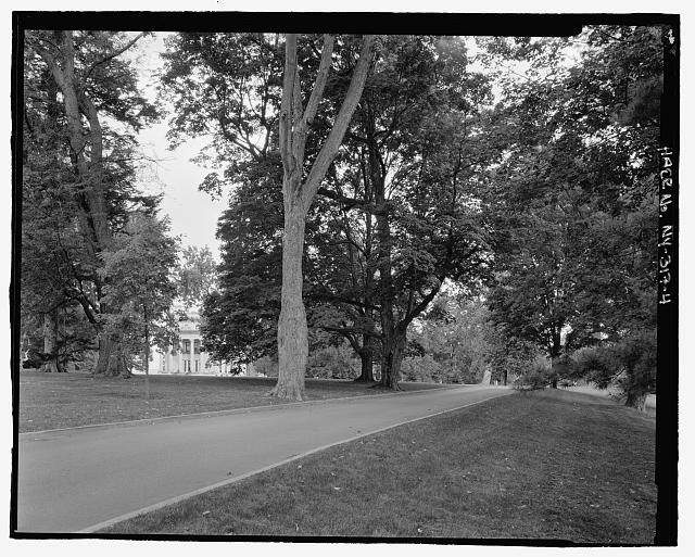 4.  Road to mansion, with mansion through trees, NPS Route 10, view NW. - Vanderbilt Mansion Roads & Bridges, Hyde Park, Dutchess County, NY