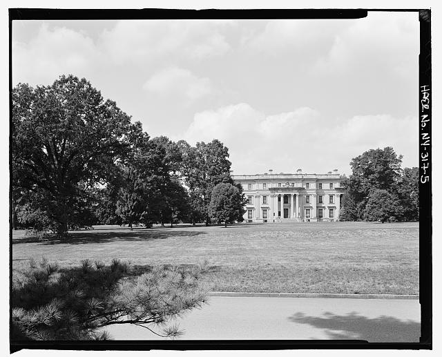 5.  View of mansion from driveway, View NW. - Vanderbilt Mansion Roads & Bridges, Hyde Park, Dutchess County, NY