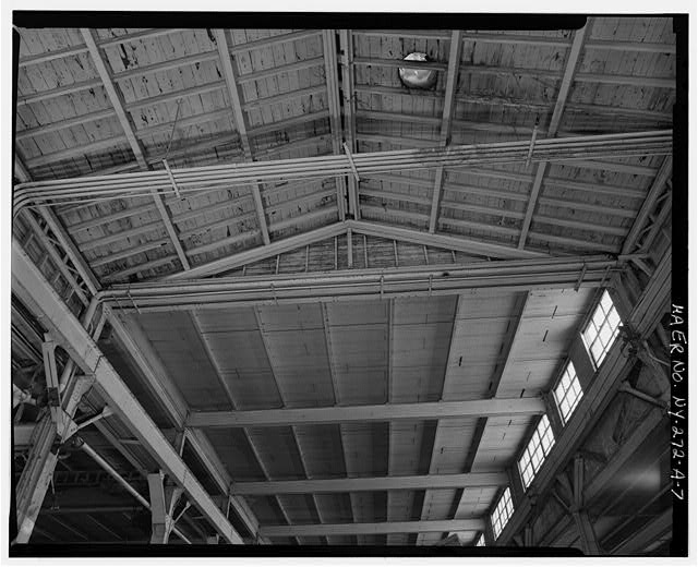 7.  MAIN BAY SHOWING ROOF JUNCTURE WITH 1951 FABRICATING SHOP - Oldman Boiler Works, Boilershop, 32 Illinois Street, Buffalo, Erie County, NY