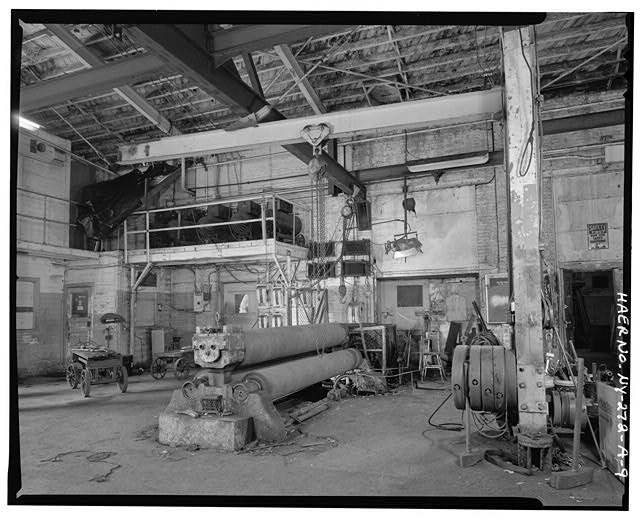 9.  SOUTH BAY SHOWING 3 X 11 7' PYRAMID PLATE BENDING ROLLS, JIB CRANE, AND CRANE HOISTS. VIEW SOUTHEAST - Oldman Boiler Works, Boilershop, 32 Illinois Street, Buffalo, Erie County, NY
