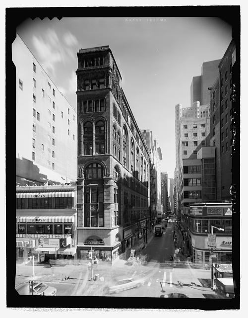 Broadway (West) Elevation - View from rooftop of World of Golf building across the street (Perspective looking down John Street - East) - Corbin Building, 11 John Street, New York, New York County, NY