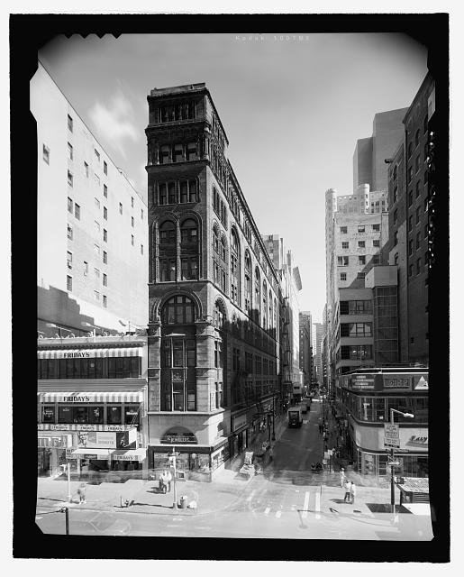 Broadway (West) Elevation - View from rooftop of World of Golf building across the street (Perspective looking down John Street - East [Different light exposure]) - Corbin Building, 11 John Street, New York, New York County, NY