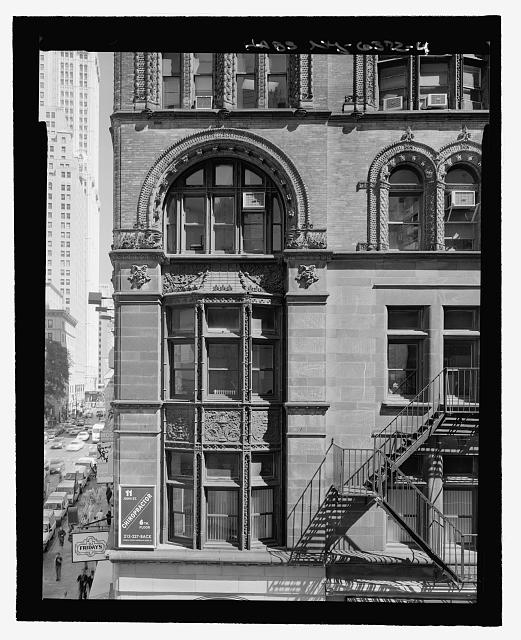 John Street (South) Elevation (Second through Fourth Floors, Terra Cotta detailed window surrounds at the corner of John Street and Broadway) - View from rooftop of 10 John Street - Corbin Building, 11 John Street, New York, New York County, NY