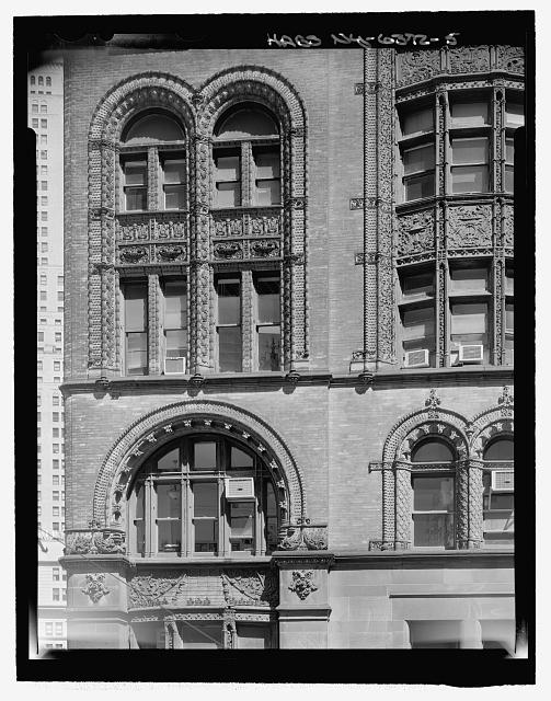 John Street (South) Elevation (Fourth through Sixth Floors, Terra Cotta detailed window surrounds at the corner of John Street and Broadway) -  View from rooftop of 10 John Street  - Corbin Building, 11 John Street, New York, New York County, NY