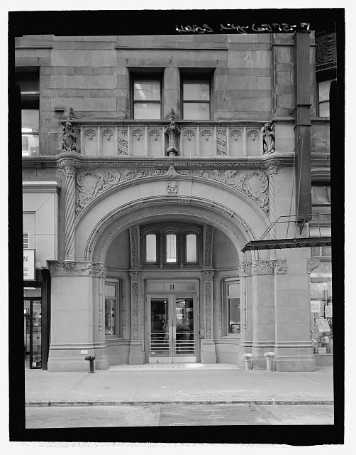 Front Entrance Detail, John Street, South Elevation - Corbin Building, 11 John Street, New York, New York County, NY