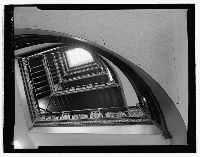 Interior Staircase looking up at skylight from Second Floor - Corbin Building, 11 John Street, New York, New York County, NY