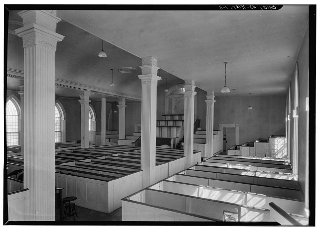 11. Historic American Buildings Survey, Carl F. Waite, Photographer April, 1934 INTERIOR, GENERAL VIEW LOOKING EAST, FIRST FLOOR.  - Kirtland Temple (Mormon), 9020 Chillicoth Road, Kirtland, Lake County, OH