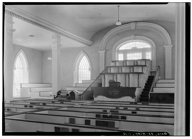 12. Historic American Buildings Survey, Carl F. Waite, Photographer April, 1934 INTERIOR VIEW LOOKING WEST, FIRST FLOOR.  - Kirtland Temple (Mormon), 9020 Chillicoth Road, Kirtland, Lake County, OH
