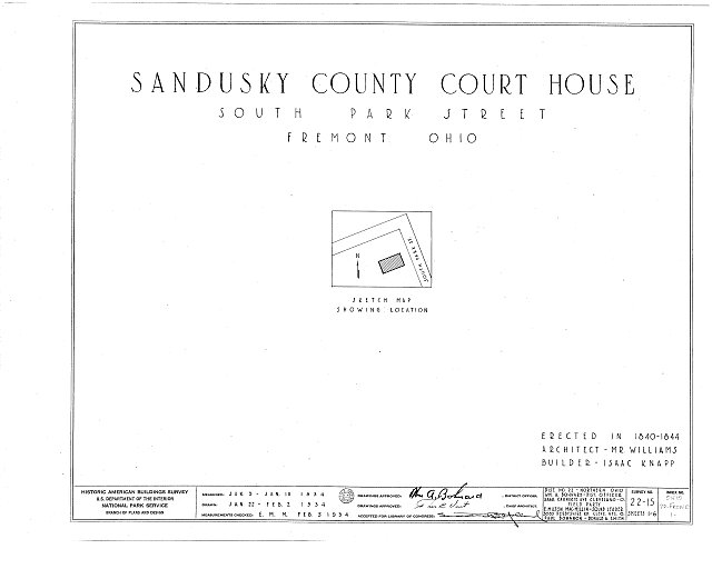 HABS OHIO,72-FREMO,1- (sheet 0 of 6) - Sandusky County Courthouse, South Park Street, Fremont, Sandusky County, OH