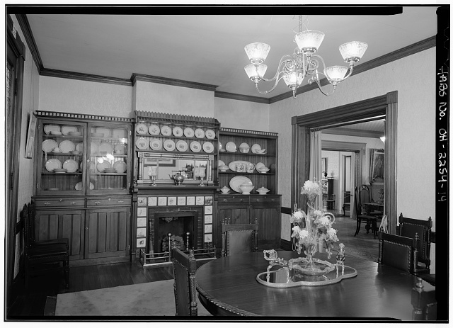 14.  VIEW IN DINING ROOM SHOWING FIREPLACE AND BUILT-IN CUPBOARDS; FOYER CAN BE SEEN THROUGH DOORWAY - Lawnfield, 8095 Mentor Avenue (U.S. Route 20), Mentor, Lake County, OH
