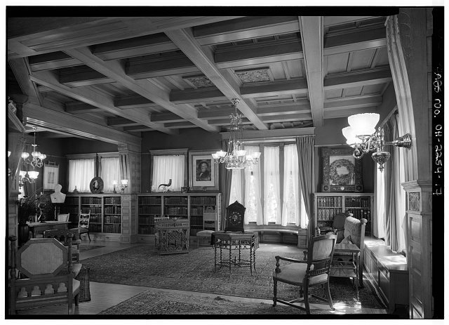 17.  GENERAL VIEW IN LIBRARY LOOKING EAST - Lawnfield, 8095 Mentor Avenue (U.S. Route 20), Mentor, Lake County, OH