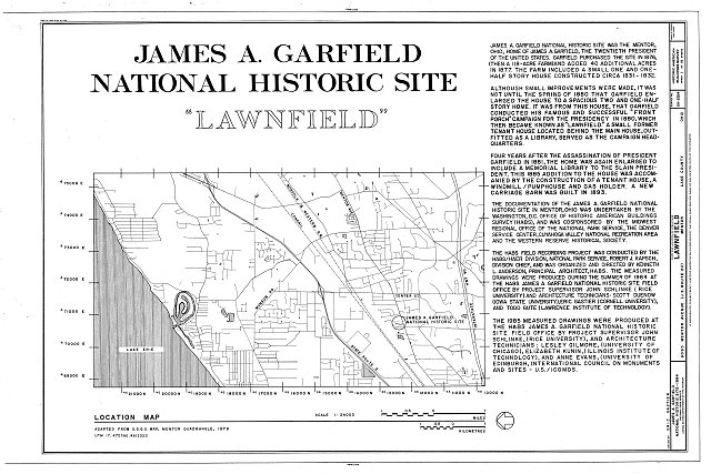 HABS OHIO,43-MENT,2- (sheet 1 of 14) - Lawnfield, 8095 Mentor Avenue (U.S. Route 20), Mentor, Lake County, OH