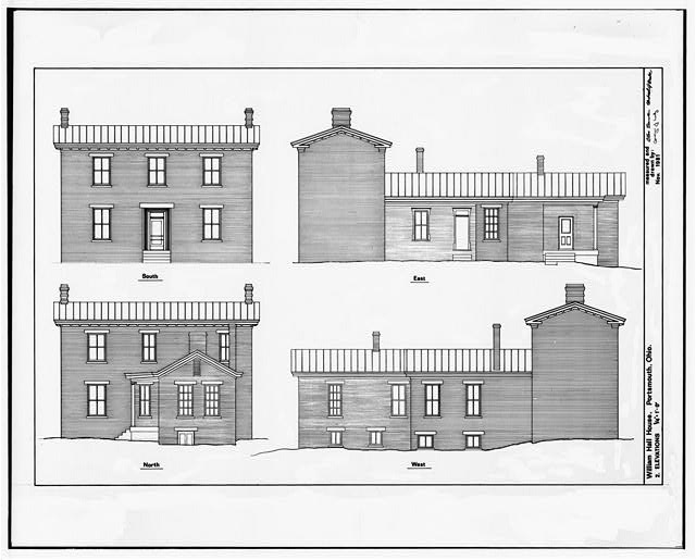 2.  ELEVATIONS: NORTH, SOUTH, EAST, AND WEST - William Hall House, 429 Second Street, Portsmouth, Scioto County, OH