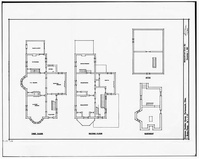 1.  PLANS: FIRST FLOOR, SECOND FLOOR, BASEMENT, ATTIC - Emerson & Grace Hoobler House, 935 Second Street, Portsmouth, Scioto County, OH