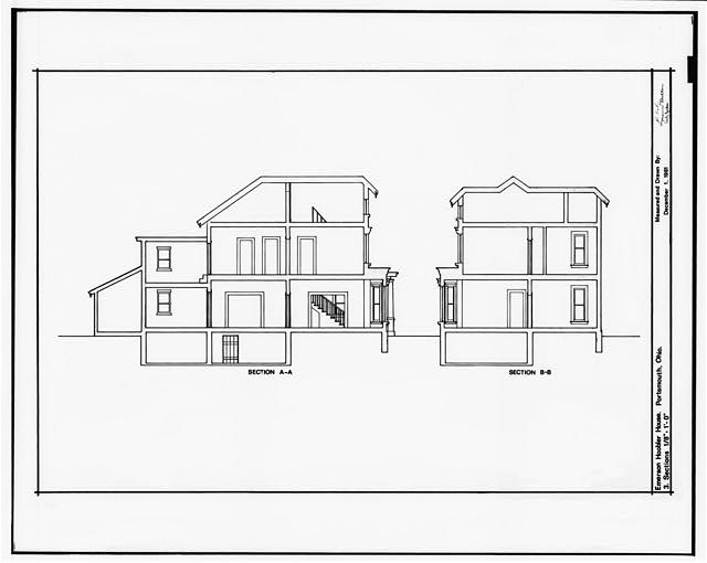 3.  SECTIONS: LONGITUDINAL, TRANSVERSE - Emerson & Grace Hoobler House, 935 Second Street, Portsmouth, Scioto County, OH