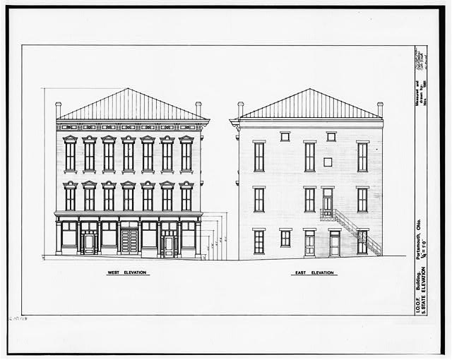 5.  WEST AND EAST ELEVATIONS - Independent Order of Odd Fellows, Court & Fifth Streets, Portsmouth, Scioto County, OH